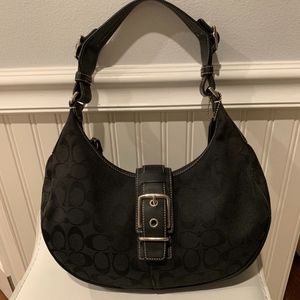 COACH Soho Black Signature Hobo Buckle Bag